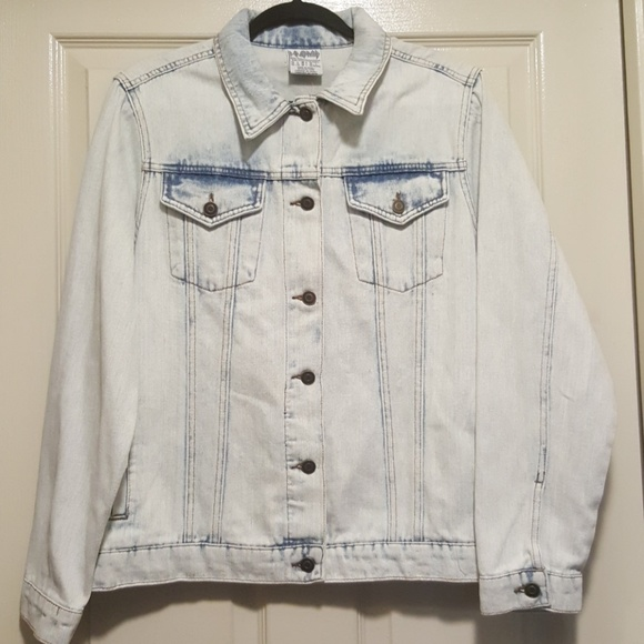 Def Leppard graphic acid wash denim jean jacket blazer women/'s size LARGE shirt